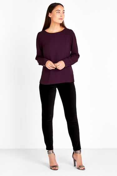 Purple Coloured Slash Neck Top - neckline: slash/boat neckline; pattern: plain; length: below the bottom; predominant colour: aubergine; occasions: casual, creative work; style: top; fibres: polyester/polyamide - stretch; fit: loose; sleeve length: long sleeve; sleeve style: standard; texture group: crepes; pattern type: fabric; pattern size: standard; season: a/w 2016; wardrobe: highlight