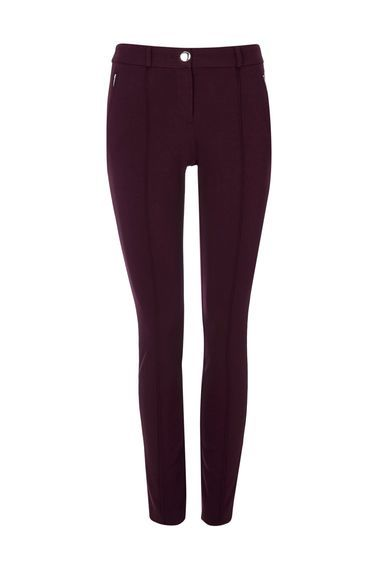 Berry Tregging - pattern: plain; waist detail: elasticated waist; waist: mid/regular rise; predominant colour: aubergine; occasions: casual; length: ankle length; fibres: viscose/rayon - stretch; hip detail: fitted at hip (bottoms); texture group: jersey - clingy; fit: skinny/tight leg; pattern type: fabric; style: standard; season: a/w 2016