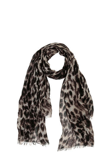 Leopard Print Scarf - predominant colour: ivory/cream; secondary colour: black; occasions: casual; type of pattern: heavy; style: regular; size: standard; material: fabric; pattern: animal print; multicoloured: multicoloured; season: a/w 2016