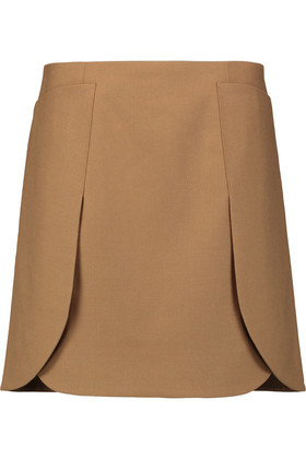 Stretch Wool Twill Skirt Light Brown - length: mid thigh; pattern: plain; style: straight; waist: mid/regular rise; predominant colour: camel; occasions: casual, creative work; fibres: wool - stretch; fit: straight cut; pattern type: fabric; texture group: woven light midweight; wardrobe: basic; season: a/w 2016