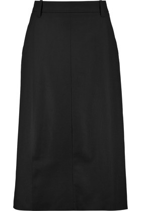 Wool Blend Midi Skirt Black - length: below the knee; pattern: plain; style: straight; waist: high rise; predominant colour: black; occasions: work; fibres: wool - 100%; fit: straight cut; pattern type: fabric; texture group: woven light midweight; wardrobe: basic; season: a/w 2016