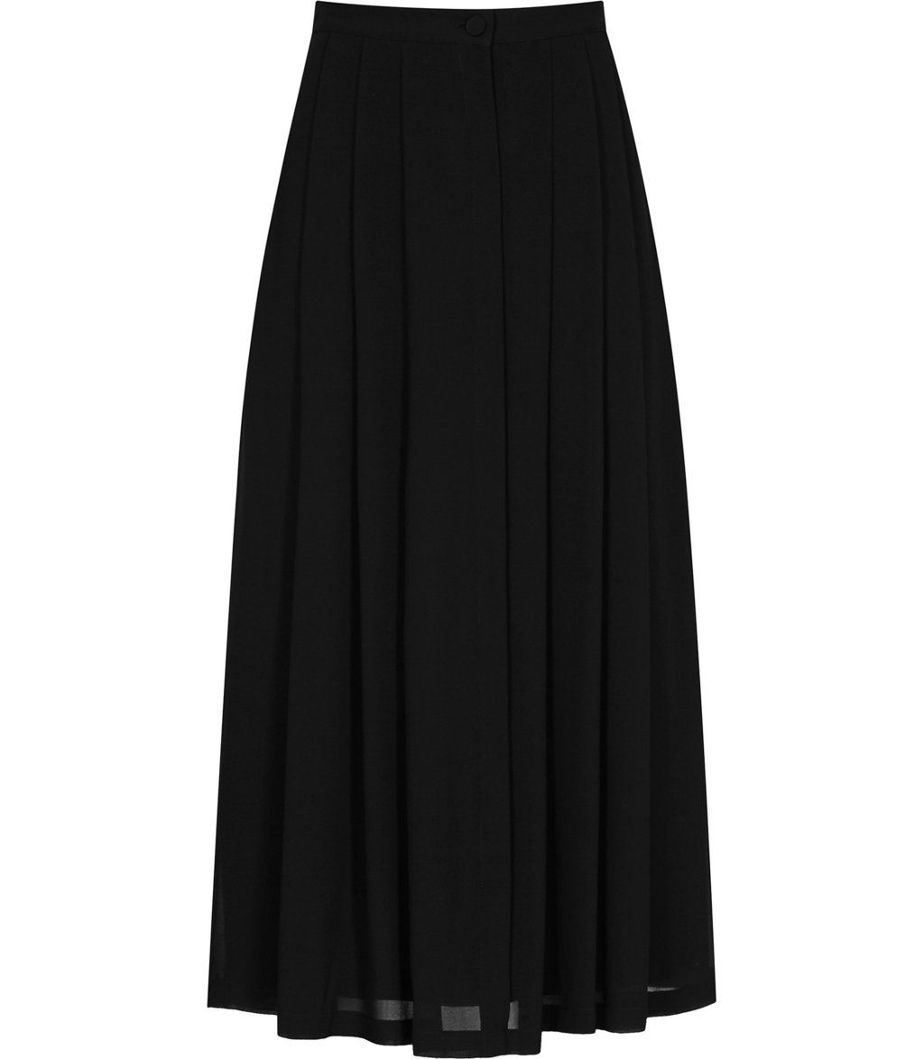 Muir Womens Midi Skirt In Black - length: calf length; pattern: plain; style: full/prom skirt; fit: loose/voluminous; waist: high rise; predominant colour: black; occasions: work, occasion; fibres: polyester/polyamide - 100%; hip detail: soft pleats at hip/draping at hip/flared at hip; texture group: sheer fabrics/chiffon/organza etc.; pattern type: fabric; season: a/w 2016