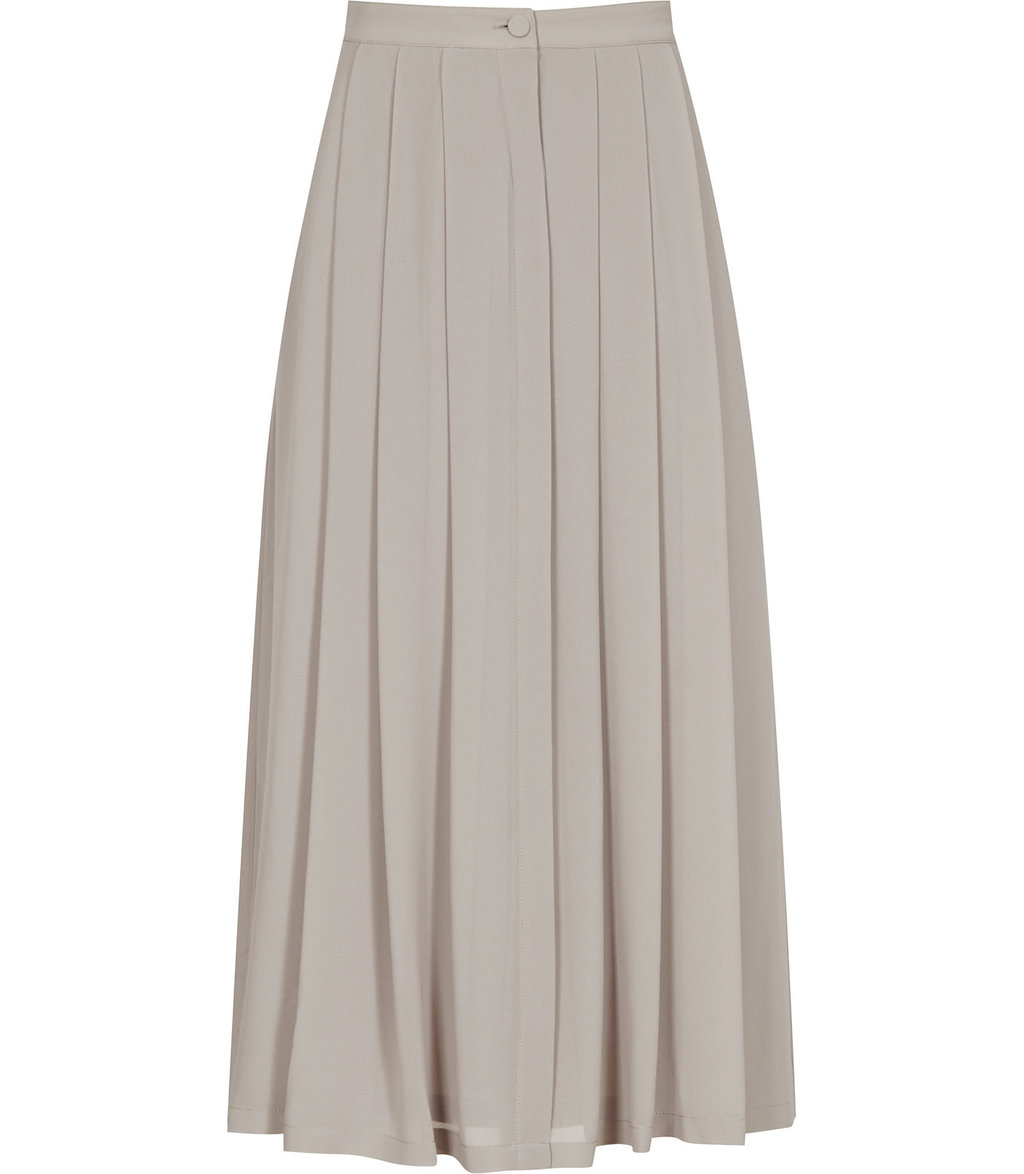 Muir Womens Midi Skirt In Grey - length: calf length; pattern: plain; style: full/prom skirt; fit: loose/voluminous; waist: high rise; predominant colour: light grey; occasions: work, occasion; fibres: polyester/polyamide - 100%; hip detail: subtle/flattering hip detail; texture group: sheer fabrics/chiffon/organza etc.; pattern type: fabric; wardrobe: basic; season: a/w 2016