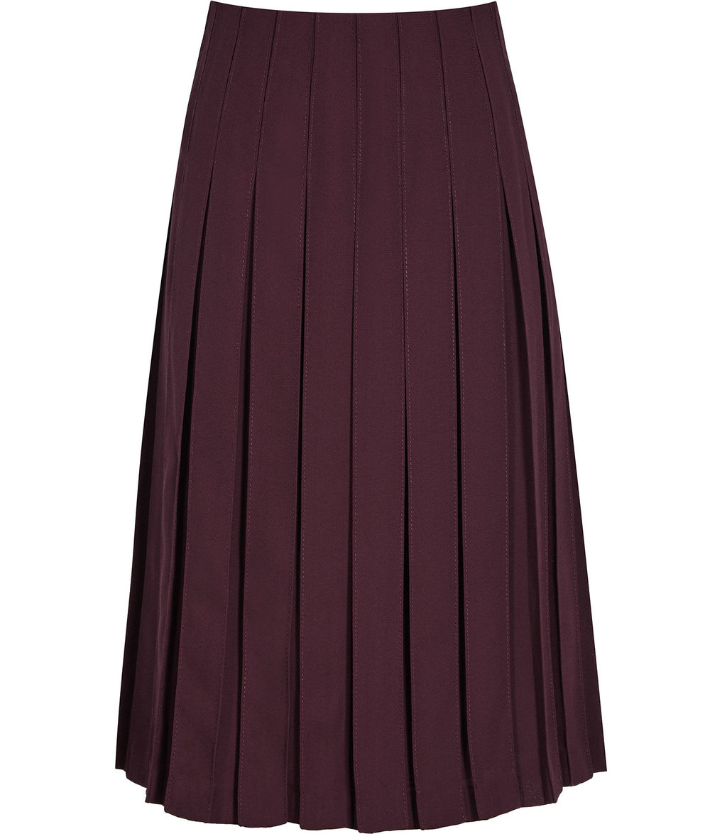 Selina Womens Pleated Midi Skirt In Red - length: calf length; pattern: plain; fit: loose/voluminous; style: pleated; waist: mid/regular rise; predominant colour: burgundy; occasions: work, occasion; fibres: polyester/polyamide - 100%; hip detail: sculpting darts/pleats/seams at hip; texture group: sheer fabrics/chiffon/organza etc.; pattern type: fabric; season: a/w 2016