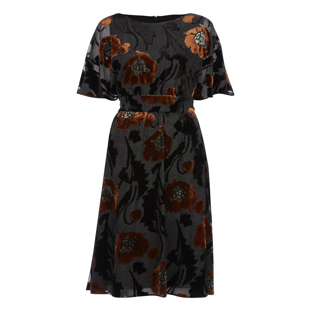 Devore Floral Angel Sleeve Fit And Flare Dress - neckline: slash/boat neckline; sleeve style: angel/waterfall; style: blouson; secondary colour: terracotta; predominant colour: black; occasions: evening, occasion; length: on the knee; fit: fitted at waist & bust; fibres: polyester/polyamide - 100%; hip detail: soft pleats at hip/draping at hip/flared at hip; waist detail: narrow waistband; sleeve length: short sleeve; texture group: sheer fabrics/chiffon/organza etc.; pattern type: fabric; pattern: florals; multicoloured: multicoloured; season: a/w 2016