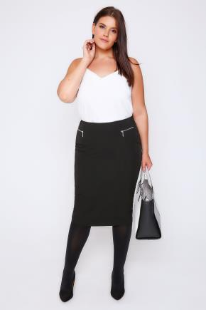Black Pencil Midi Skirt With Silver Zip Details - length: below the knee; pattern: plain; style: pencil; fit: tailored/fitted; waist: high rise; predominant colour: silver; occasions: work; fibres: polyester/polyamide - 100%; pattern type: fabric; texture group: other - light to midweight; embellishment: zips; season: a/w 2016; wardrobe: highlight