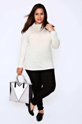 Ivory Turtle Neck Long Sleeved Soft Touch Jersey Top - pattern: plain; neckline: roll neck; predominant colour: white; occasions: casual, work, creative work; length: standard; style: top; fibres: cotton - stretch; fit: body skimming; sleeve length: long sleeve; sleeve style: standard; pattern type: fabric; texture group: jersey - stretchy/drapey; wardrobe: basic; season: a/w 2016