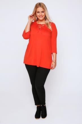 Orange Jersey Half Sleeve Top Lace Up Neck - neckline: round neck; pattern: plain; length: below the bottom; predominant colour: bright orange; occasions: casual, creative work; style: top; fibres: polyester/polyamide - stretch; fit: body skimming; sleeve length: 3/4 length; sleeve style: standard; pattern type: fabric; texture group: jersey - stretchy/drapey; embellishment: lace; season: a/w 2016; wardrobe: highlight