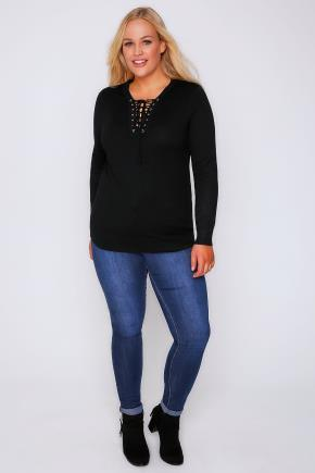 Black Long Sleeve Jumper With Lace Up Neckline - neckline: round neck; pattern: plain; style: standard; predominant colour: black; occasions: casual, work, creative work; length: standard; fit: slim fit; sleeve length: long sleeve; sleeve style: standard; texture group: knits/crochet; pattern type: knitted - fine stitch; fibres: viscose/rayon - mix; wardrobe: basic; season: a/w 2016