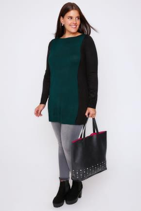 Teal & Black Colour Block Knitted Tunic - neckline: round neck; pattern: plain; length: below the bottom; style: tunic; predominant colour: teal; secondary colour: black; occasions: casual, creative work; fibres: acrylic - 100%; fit: loose; sleeve length: long sleeve; sleeve style: standard; pattern type: fabric; texture group: jersey - stretchy/drapey; season: a/w 2016