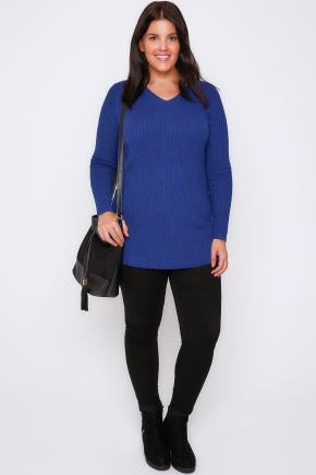 Blue Wool Blend Ribbed Jumper With Side Slit Detail - neckline: v-neck; pattern: plain; length: below the bottom; style: standard; predominant colour: royal blue; occasions: casual, creative work; fibres: wool - mix; fit: standard fit; sleeve length: long sleeve; sleeve style: standard; texture group: knits/crochet; pattern type: knitted - fine stitch; season: a/w 2016