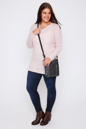 Pale Pink Wool Blend Ribbed Jumper With Side Slit Detail - neckline: v-neck; pattern: plain; length: below the bottom; style: standard; predominant colour: blush; occasions: casual, creative work; fibres: wool - 100%; fit: loose; sleeve length: long sleeve; sleeve style: standard; texture group: knits/crochet; pattern type: knitted - fine stitch; wardrobe: basic; season: a/w 2016