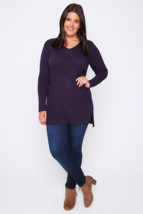 Aubergine Purple Wool Blend Ribbed Jumper With Side Slit Detail - neckline: round neck; pattern: plain; length: below the bottom; style: standard; predominant colour: aubergine; occasions: casual, creative work; fibres: wool - 100%; fit: loose; sleeve length: long sleeve; sleeve style: standard; texture group: knits/crochet; pattern type: knitted - fine stitch; season: a/w 2016; wardrobe: highlight
