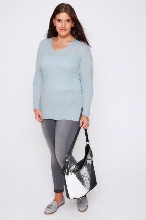 Pale Blue Wool Blend Ribbed Jumper With Side Slit Detail - neckline: v-neck; pattern: plain; length: below the bottom; style: standard; predominant colour: pale blue; occasions: casual; fibres: wool - mix; fit: slim fit; sleeve length: long sleeve; sleeve style: standard; texture group: knits/crochet; pattern type: knitted - fine stitch; season: a/w 2016