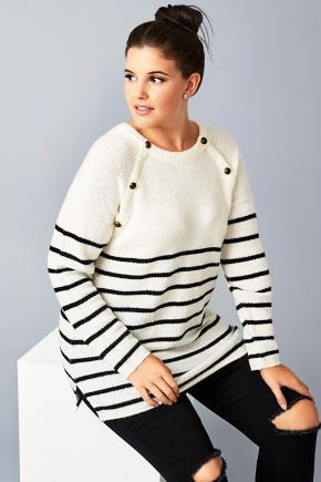 Cream & Black Stripe Knit Jumper With Bronze Buttons - neckline: round neck; pattern: horizontal stripes; length: below the bottom; style: standard; predominant colour: ivory/cream; occasions: casual, activity; fibres: acrylic - mix; fit: loose; sleeve length: long sleeve; sleeve style: standard; texture group: knits/crochet; pattern type: knitted - fine stitch; pattern size: big & busy (top); season: a/w 2016