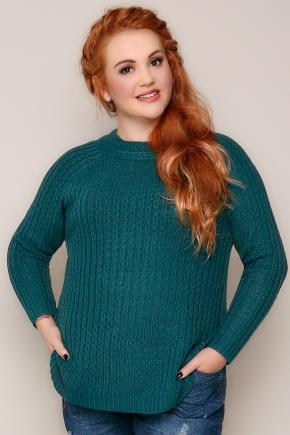 Dark Teal Cable Knit Long Sleeve Jumper - pattern: plain; neckline: high neck; style: standard; predominant colour: dark green; occasions: casual; length: standard; fibres: acrylic - 100%; fit: standard fit; sleeve length: long sleeve; sleeve style: standard; texture group: knits/crochet; pattern type: knitted - fine stitch; season: a/w 2016; wardrobe: highlight