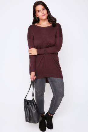 Burgundy Longline Knitted Jumper With Seam Front Detail - neckline: round neck; pattern: plain; style: standard; predominant colour: burgundy; occasions: casual, creative work; fibres: cotton - mix; fit: loose; length: mid thigh; back detail: longer hem at back than at front; sleeve length: long sleeve; sleeve style: standard; texture group: knits/crochet; pattern type: knitted - fine stitch; season: a/w 2016; wardrobe: highlight