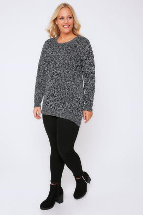 Black & White Longline Twist Knit Jumper - neckline: round neck; pattern: plain; style: standard; secondary colour: light grey; predominant colour: black; occasions: casual, creative work; fibres: acrylic - mix; fit: standard fit; length: mid thigh; sleeve length: long sleeve; sleeve style: standard; texture group: knits/crochet; pattern type: knitted - fine stitch; wardrobe: basic; season: a/w 2016
