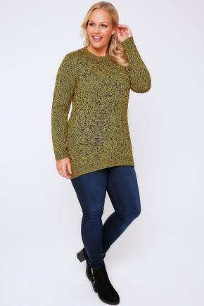 Black & Yellow Longline Twist Knit Jumper - length: below the bottom; style: standard; predominant colour: khaki; occasions: casual; fibres: acrylic - 100%; fit: standard fit; neckline: crew; sleeve length: long sleeve; sleeve style: standard; texture group: knits/crochet; pattern type: knitted - other; pattern: patterned/print; season: a/w 2016; wardrobe: highlight
