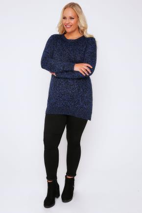 Black & Blue Longline Twist Knit Jumper - neckline: round neck; pattern: plain; length: below the bottom; style: standard; predominant colour: navy; occasions: casual, creative work; fibres: acrylic - 100%; fit: standard fit; sleeve length: long sleeve; sleeve style: standard; texture group: knits/crochet; pattern type: knitted - fine stitch; wardrobe: basic; season: a/w 2016