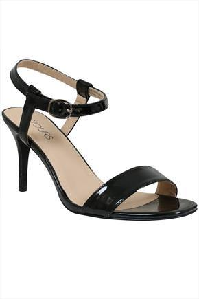 Black Patent Square Toe Heeled Sandals With Ankle Strap In Eee Fit - predominant colour: black; occasions: evening, occasion; material: faux leather; heel height: high; ankle detail: ankle strap; heel: stiletto; toe: open toe/peeptoe; style: standard; finish: patent; pattern: plain; season: a/w 2016; wardrobe: event