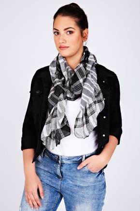 Black & White Check Elasticated Ruffle Scarf - predominant colour: black; occasions: casual, creative work; type of pattern: standard; style: regular; size: standard; material: fabric; pattern: checked/gingham; season: a/w 2016; wardrobe: highlight