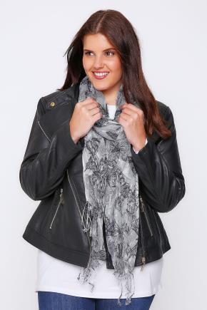 White & Black Butterfly Print Scarf With Metallic Thread - secondary colour: mid grey; predominant colour: light grey; occasions: casual, creative work; type of pattern: light; style: regular; size: standard; material: fabric; pattern: patterned/print; season: a/w 2016