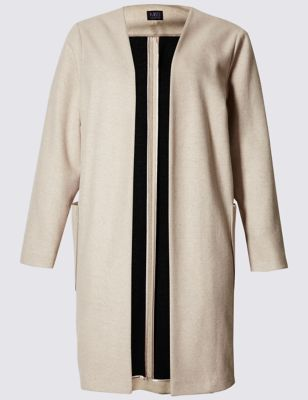 Plus Wool Blend Double Face Blanket Coat - pattern: plain; collar: round collar/collarless; style: single breasted; predominant colour: stone; occasions: casual, creative work; fit: straight cut (boxy); fibres: polyester/polyamide - mix; length: below the knee; sleeve length: long sleeve; sleeve style: standard; collar break: low/open; pattern type: fabric; pattern size: standard; texture group: woven bulky/heavy; season: s/s 2016; wardrobe: basic