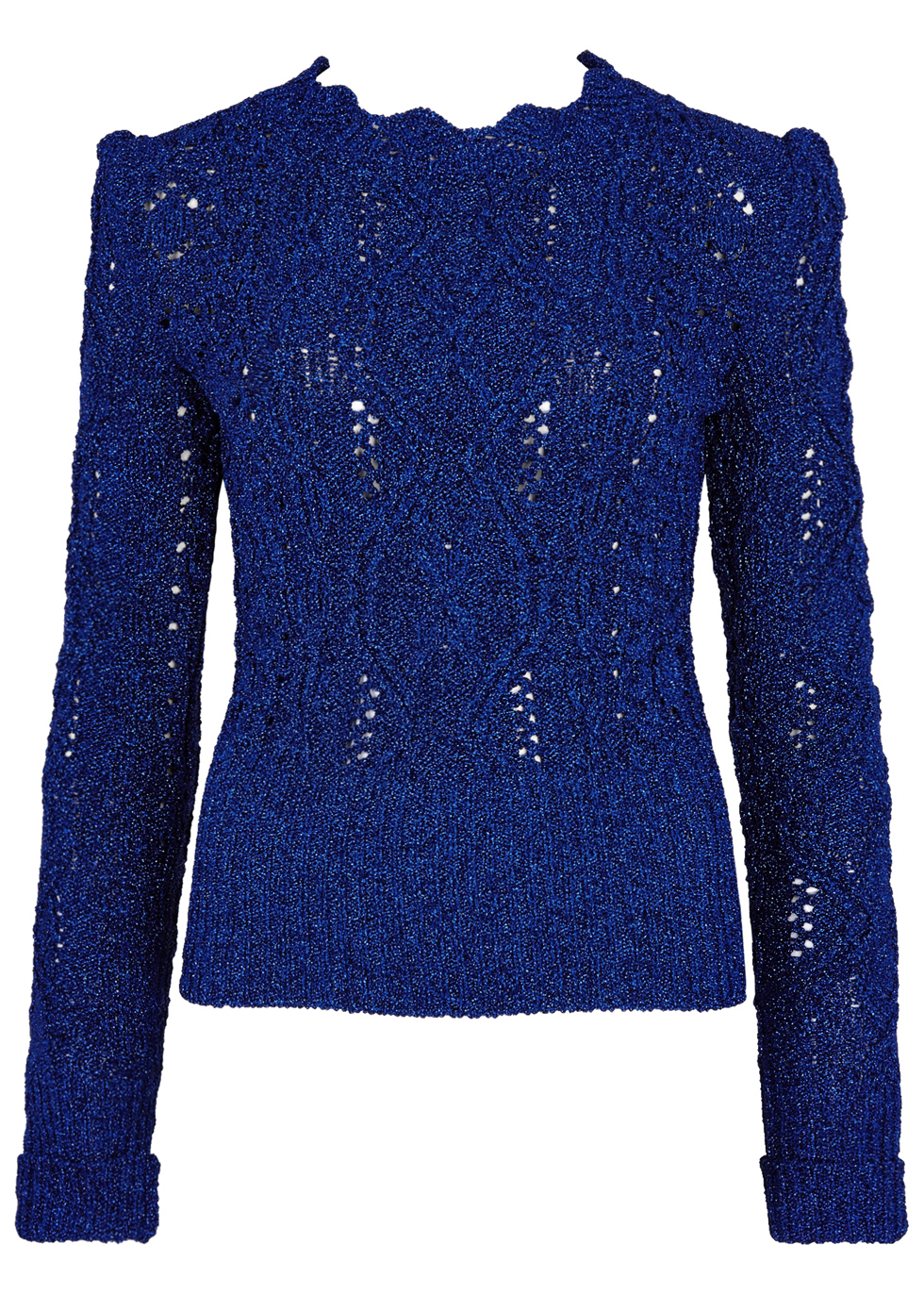 Debie Metallic Blue Cable Knit Jumper - neckline: round neck; style: standard; pattern: cable knit; predominant colour: royal blue; occasions: casual, work, creative work; length: standard; fibres: polyester/polyamide - mix; fit: slim fit; sleeve length: long sleeve; sleeve style: standard; texture group: knits/crochet; pattern type: knitted - big stitch; pattern size: standard; season: a/w 2016; wardrobe: highlight