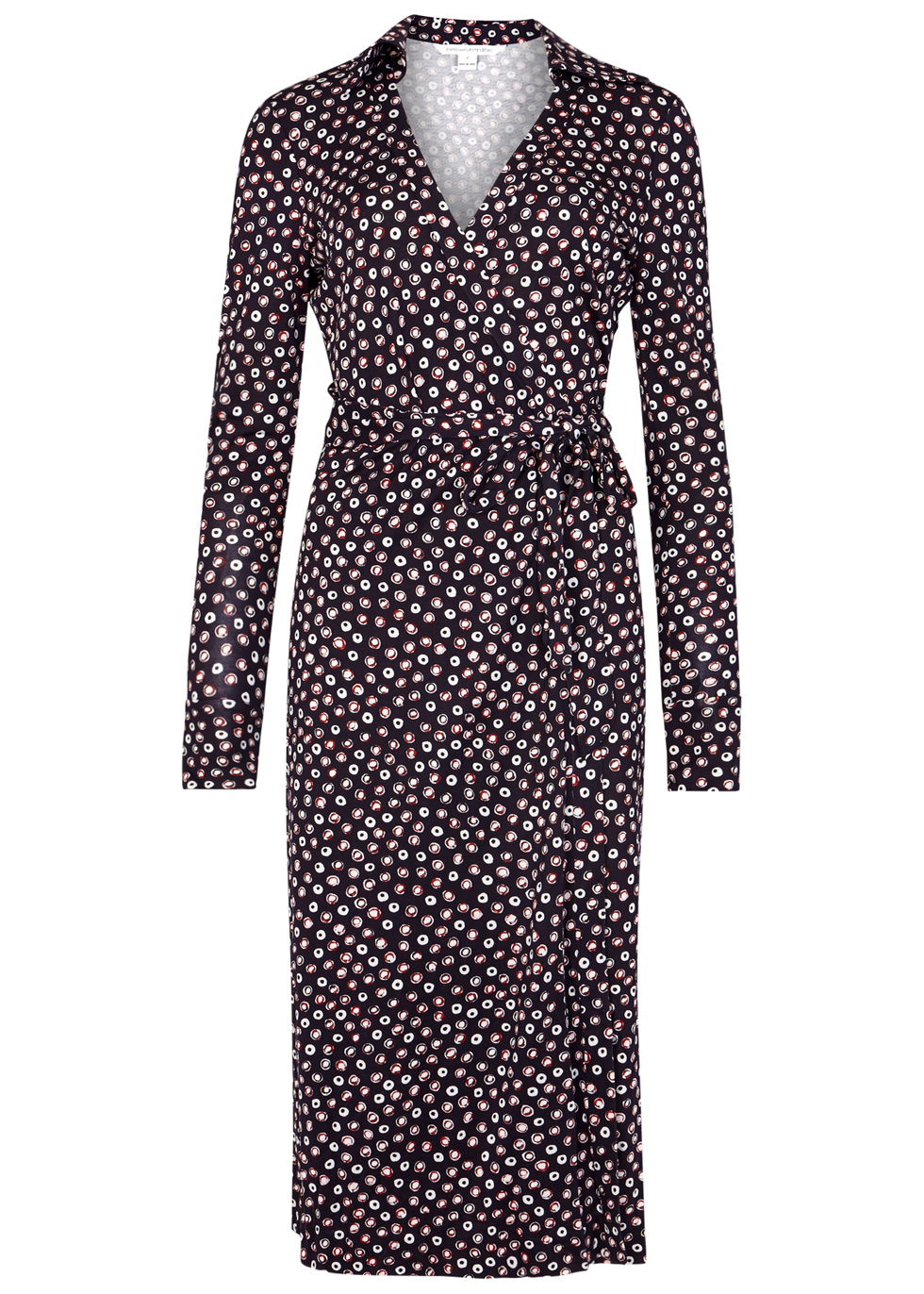 Cybil Printed Silk Jersey Wrap Dress - style: faux wrap/wrap; length: below the knee; neckline: v-neck; waist detail: belted waist/tie at waist/drawstring; secondary colour: ivory/cream; predominant colour: aubergine; fit: body skimming; fibres: silk - mix; sleeve length: long sleeve; sleeve style: standard; texture group: jersey - clingy; pattern type: fabric; pattern: patterned/print; occasions: creative work; season: a/w 2016; wardrobe: highlight