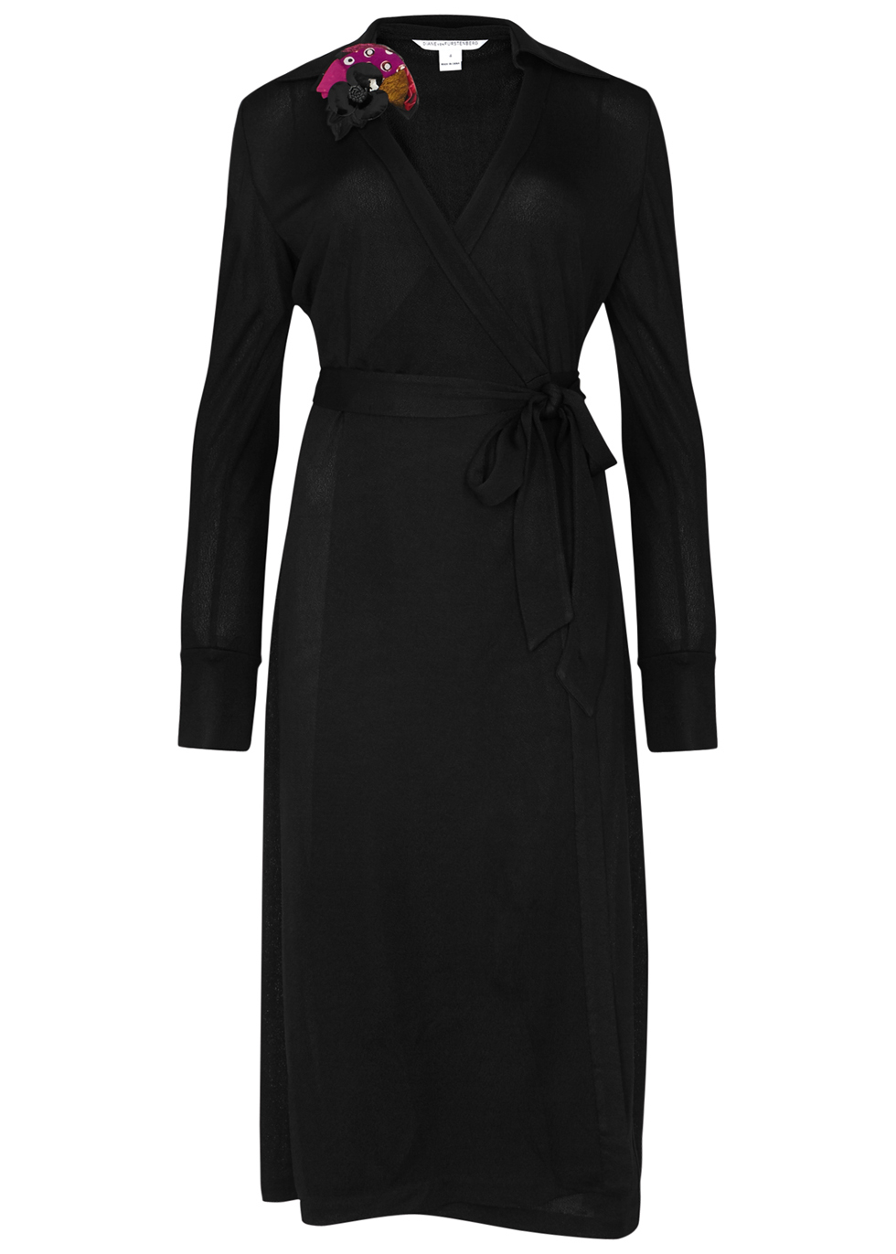 Cybil Black Jersey Wrap Dress - style: faux wrap/wrap; neckline: v-neck; pattern: plain; waist detail: belted waist/tie at waist/drawstring; predominant colour: black; length: on the knee; fit: body skimming; fibres: silk - mix; sleeve length: long sleeve; sleeve style: standard; pattern type: fabric; texture group: jersey - stretchy/drapey; occasions: creative work; season: a/w 2016