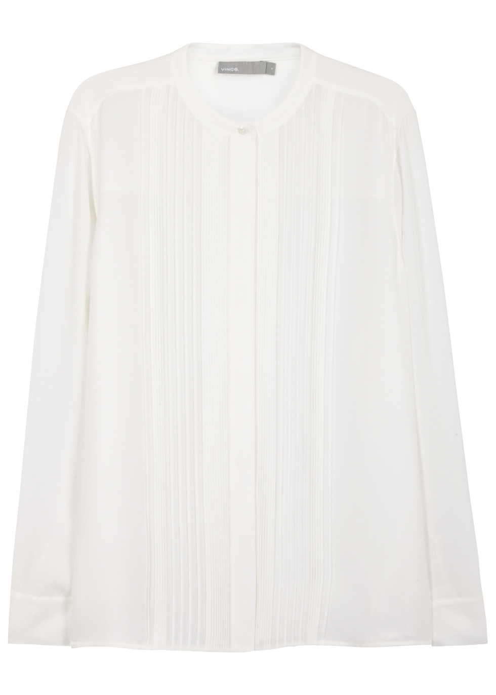 Off White Pleated Silk Shirt - pattern: plain; style: shirt; predominant colour: white; occasions: evening, work; length: standard; neckline: collarstand; fibres: silk - 100%; fit: loose; sleeve length: long sleeve; sleeve style: standard; texture group: silky - light; pattern type: fabric; wardrobe: basic; season: a/w 2016