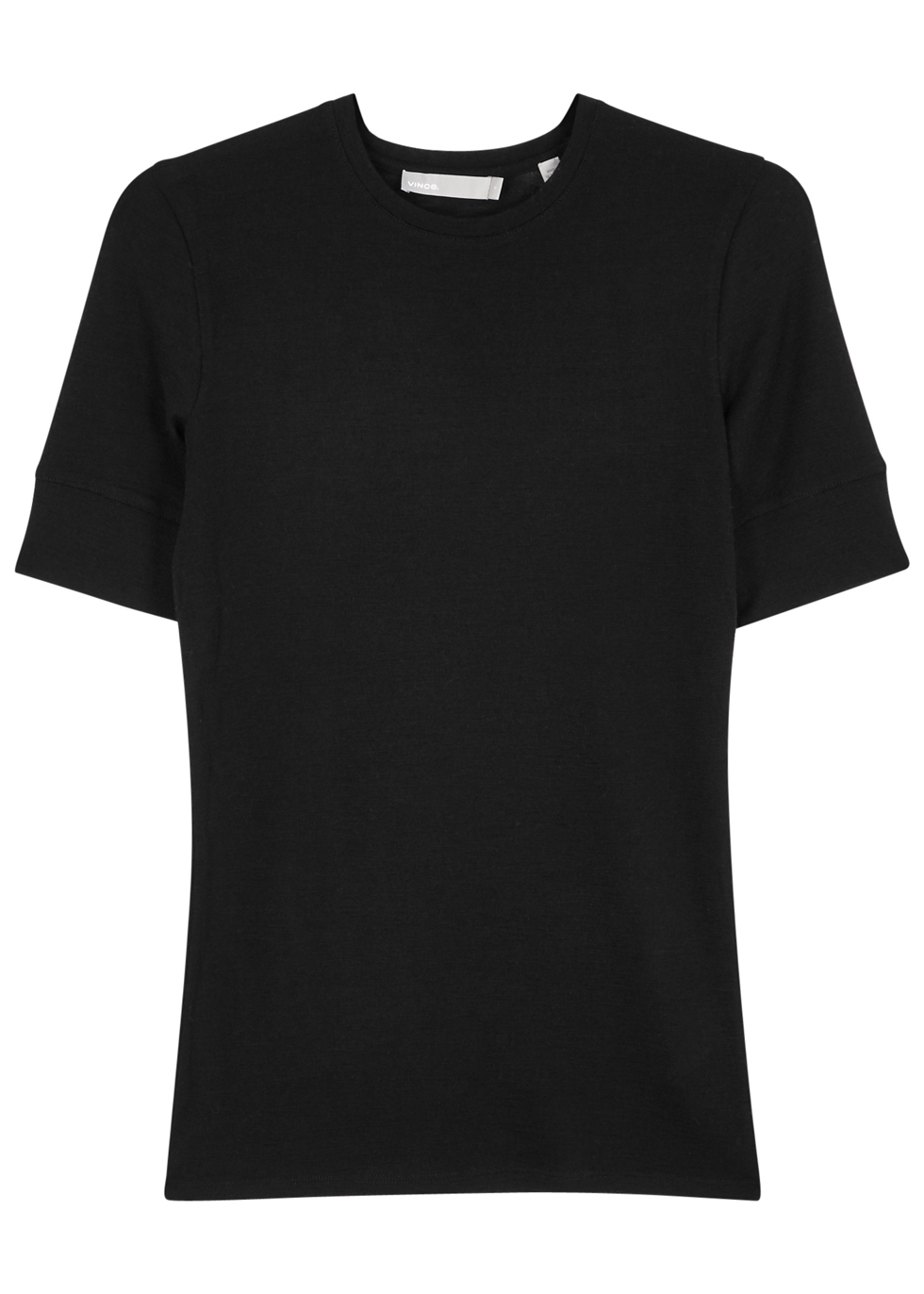 Black Wool T Shirt - pattern: plain; style: t-shirt; predominant colour: black; occasions: casual; length: standard; fibres: wool - 100%; fit: body skimming; neckline: crew; sleeve length: short sleeve; sleeve style: standard; texture group: knits/crochet; pattern type: knitted - fine stitch; season: a/w 2016