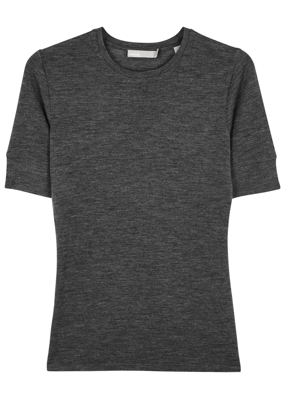Grey Wool T Shirt - pattern: plain; style: t-shirt; predominant colour: charcoal; occasions: casual; length: standard; fibres: wool - 100%; fit: body skimming; neckline: crew; sleeve length: short sleeve; sleeve style: standard; texture group: knits/crochet; pattern type: fabric; wardrobe: basic; season: a/w 2016