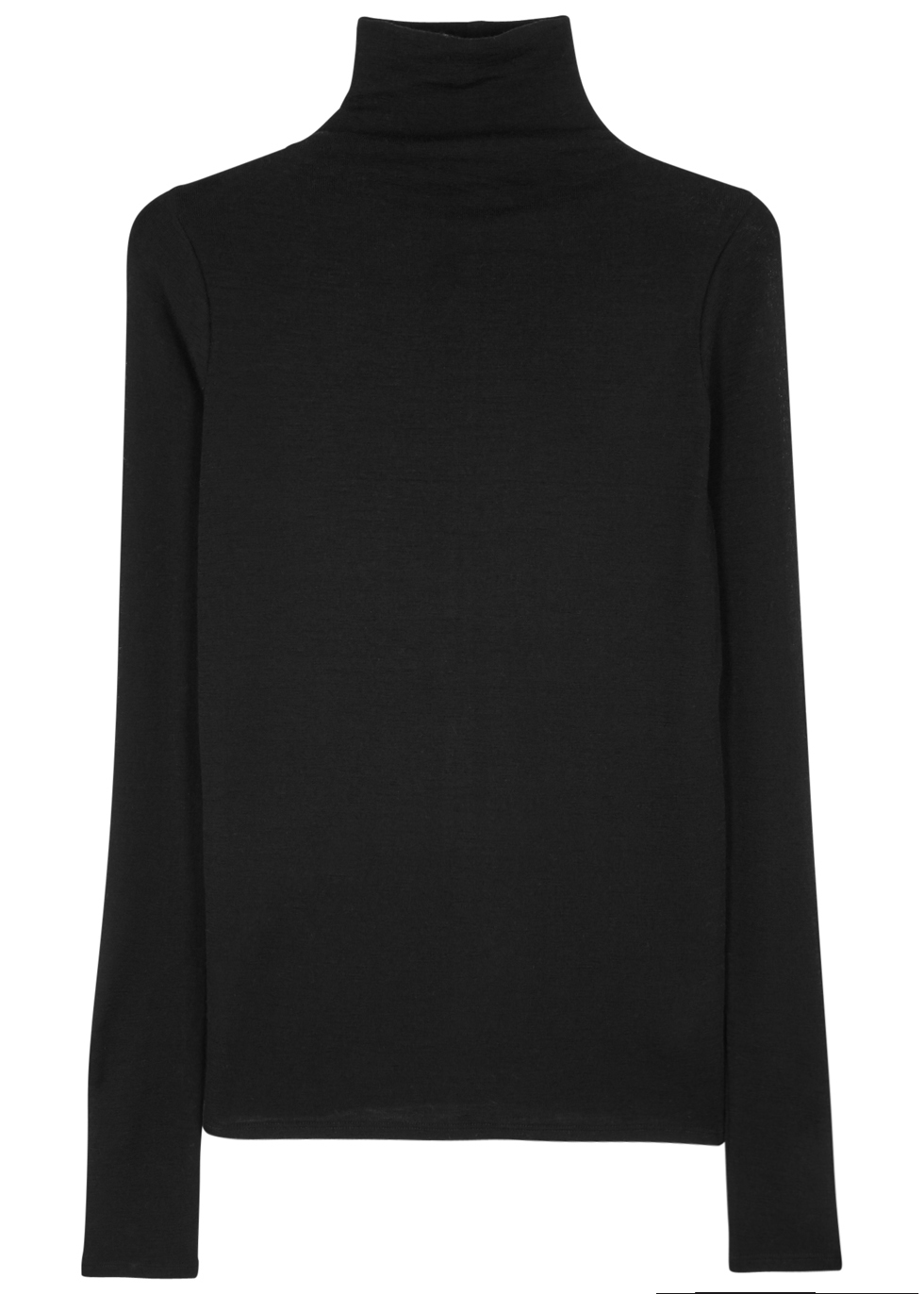 Black Fine Knit Wool Jumper - pattern: plain; neckline: roll neck; style: standard; predominant colour: black; occasions: casual, work, creative work; length: standard; fibres: wool - 100%; fit: standard fit; sleeve length: long sleeve; sleeve style: standard; texture group: knits/crochet; pattern type: knitted - fine stitch; wardrobe: basic; season: a/w 2016