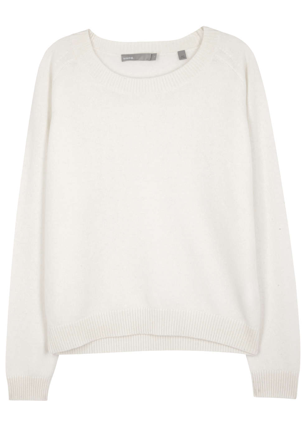 White Cashmere Jumper - neckline: round neck; pattern: plain; style: standard; predominant colour: white; occasions: casual, work, creative work; length: standard; fit: standard fit; fibres: cashmere - 100%; sleeve length: long sleeve; sleeve style: standard; texture group: knits/crochet; pattern type: knitted - fine stitch; wardrobe: investment; season: a/w 2016