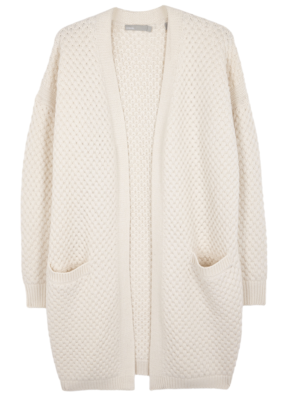 Ivory Waffle Knit Wool Blend Cardigan - pattern: plain; length: below the bottom; neckline: collarless open; style: open front; predominant colour: ivory/cream; occasions: casual; fibres: wool - mix; fit: loose; sleeve length: long sleeve; sleeve style: standard; texture group: knits/crochet; pattern type: knitted - other; season: a/w 2016