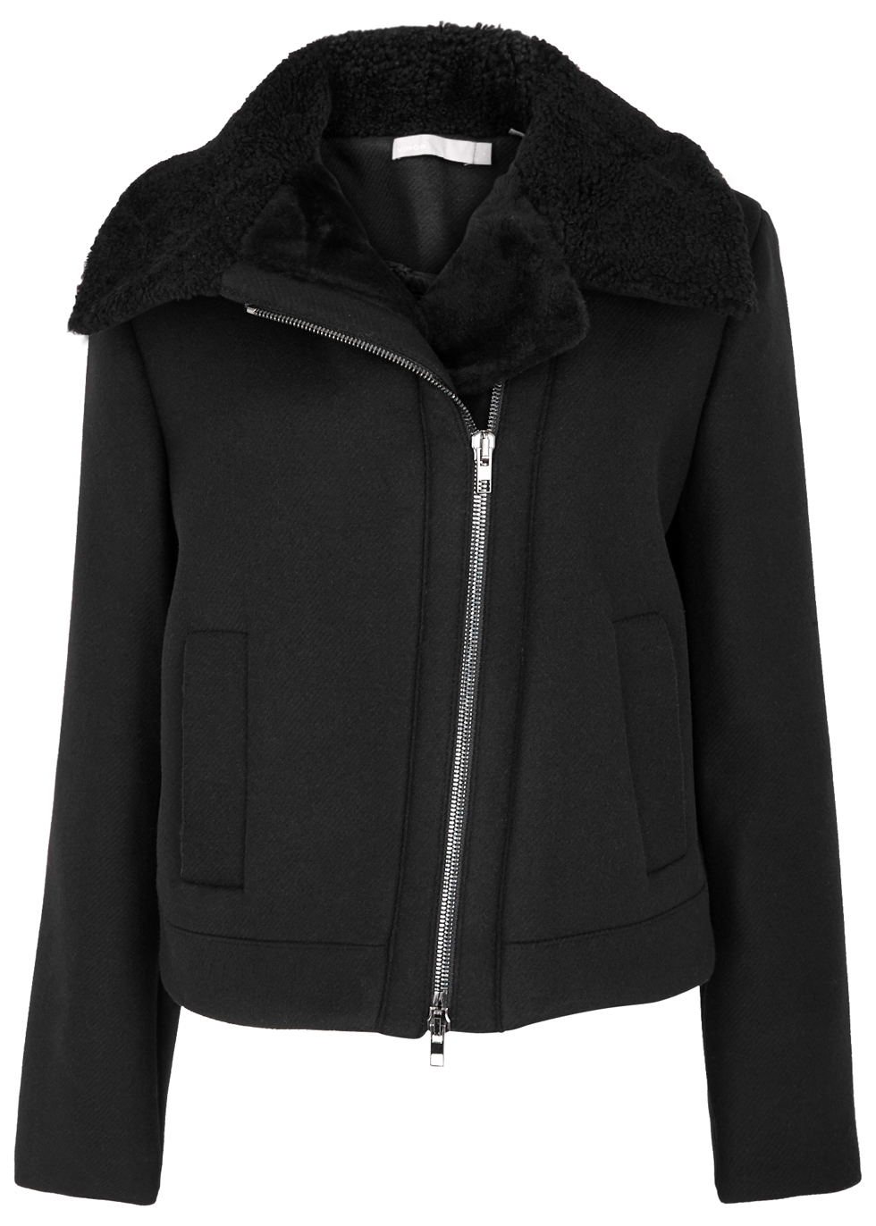 Moto Black Shearling Trimmed Jacket - pattern: plain; style: biker; collar: asymmetric biker; predominant colour: black; occasions: casual, creative work; length: standard; fit: straight cut (boxy); fibres: wool - mix; sleeve length: long sleeve; sleeve style: standard; collar break: medium; pattern type: fabric; texture group: woven light midweight; embellishment: fur; season: a/w 2016; wardrobe: highlight; embellishment location: neck