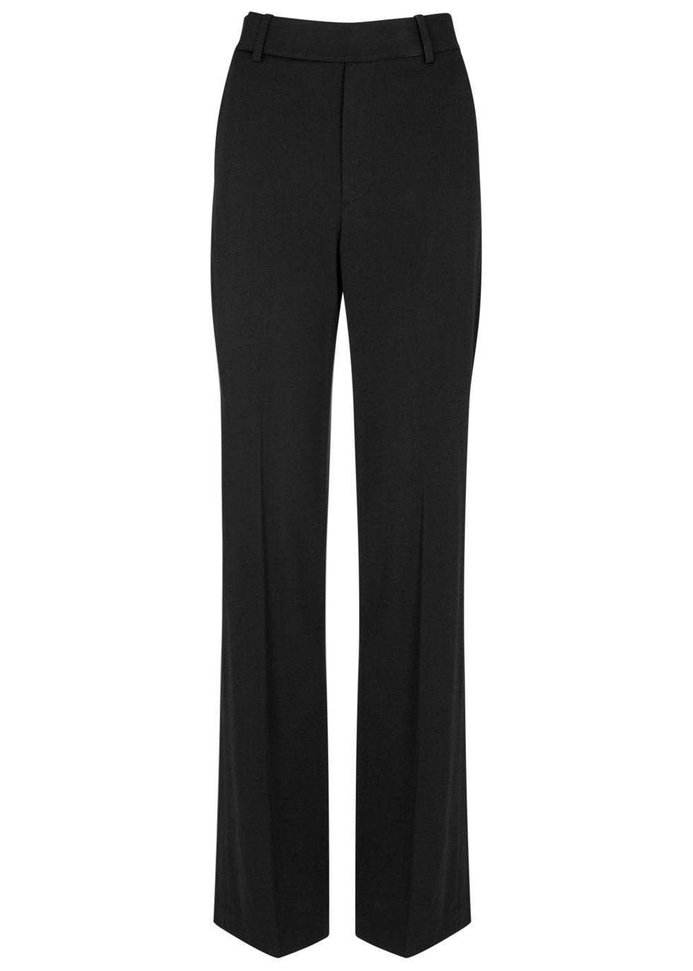 Black Wide Leg Crepe Trousers - length: standard; pattern: plain; waist: mid/regular rise; predominant colour: black; occasions: work; fibres: viscose/rayon - stretch; fit: wide leg; pattern type: fabric; texture group: woven light midweight; style: standard; pattern size: standard (bottom); wardrobe: basic; season: a/w 2016