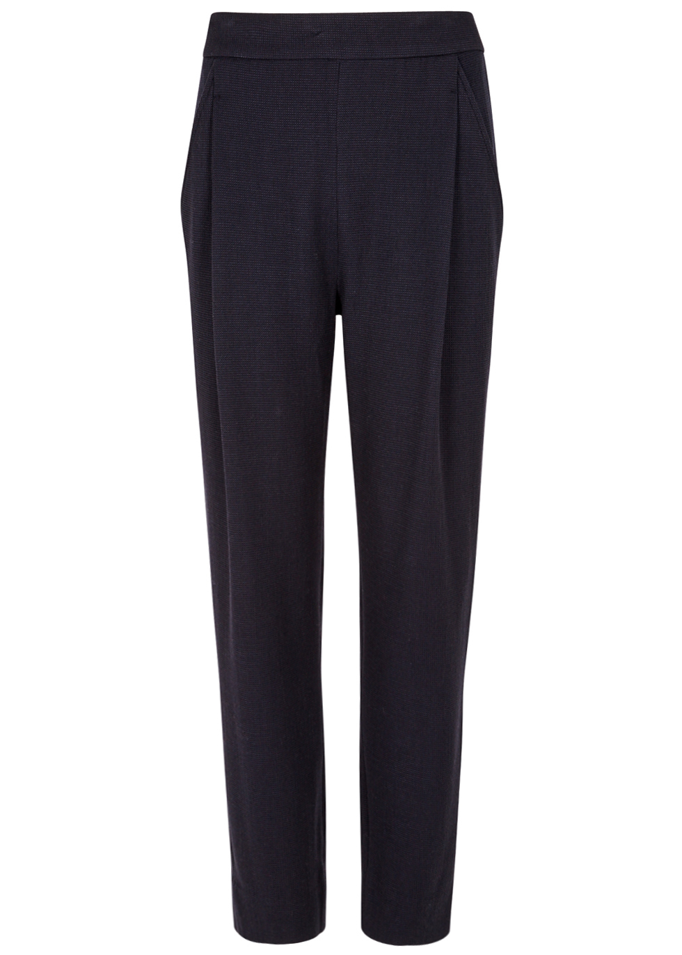 Navy Textured Wool Blend Trousers - length: standard; pattern: plain; waist: mid/regular rise; predominant colour: navy; occasions: work; fibres: wool - mix; waist detail: narrow waistband; fit: straight leg; pattern type: fabric; texture group: woven light midweight; style: standard; season: a/w 2016