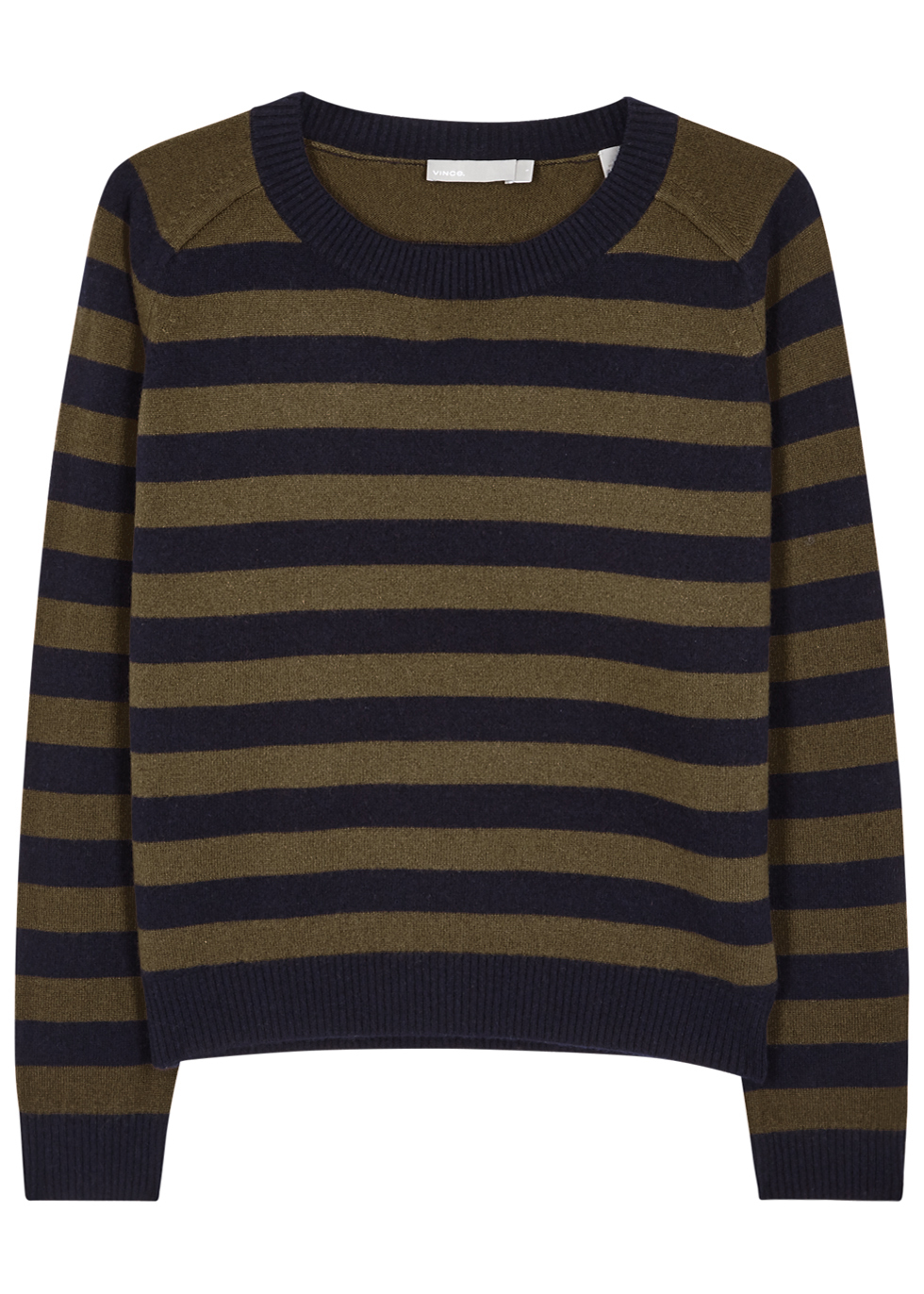 Regiment Stripe Olive And Navy Cashmere Jumper - pattern: horizontal stripes; style: standard; predominant colour: khaki; secondary colour: black; occasions: casual; length: standard; fit: standard fit; neckline: crew; fibres: cashmere - 100%; sleeve length: long sleeve; sleeve style: standard; texture group: knits/crochet; pattern type: fabric; multicoloured: multicoloured; season: a/w 2016; wardrobe: highlight