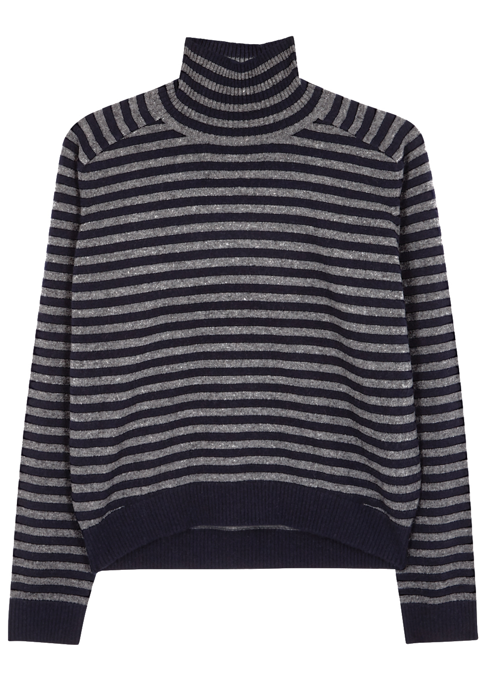 Navy Striped Cashmere Jumper - pattern: horizontal stripes; neckline: roll neck; style: standard; secondary colour: mid grey; predominant colour: black; occasions: casual; length: standard; fit: loose; fibres: cashmere - 100%; sleeve length: long sleeve; sleeve style: standard; texture group: knits/crochet; pattern type: fabric; multicoloured: multicoloured; season: a/w 2016; wardrobe: highlight