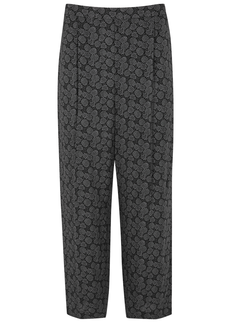 Black Printed Stretch Silk Trousers - style: palazzo; waist: mid/regular rise; secondary colour: mid grey; predominant colour: black; occasions: casual; length: calf length; fit: wide leg; pattern type: fabric; pattern: florals; texture group: woven light midweight; fibres: silk - stretch; multicoloured: multicoloured; season: a/w 2016; wardrobe: highlight