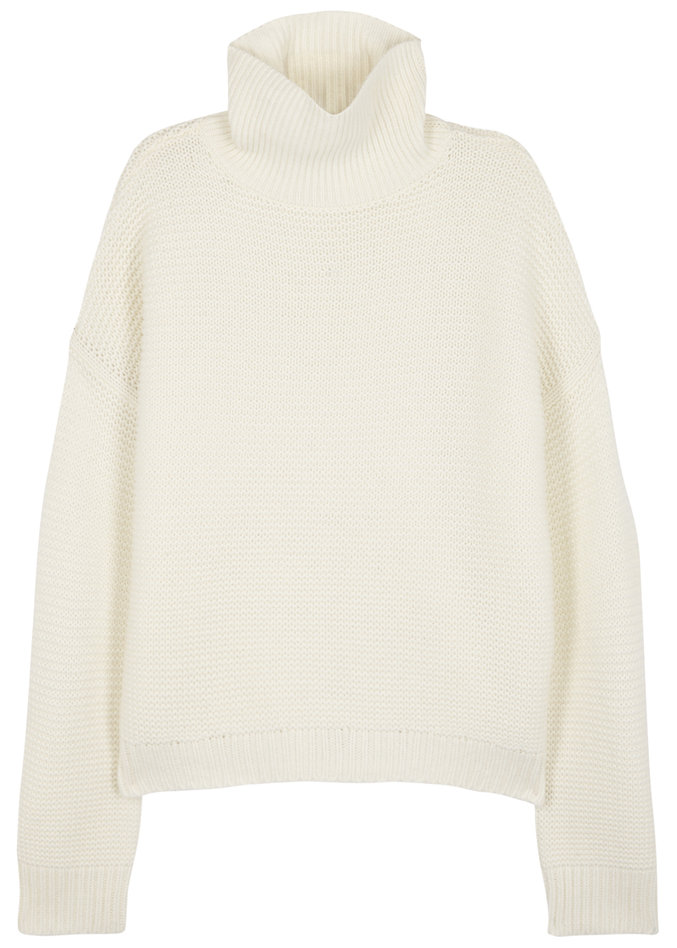 Ivory Waffle Knit Wool Blend Jumper - pattern: plain; neckline: roll neck; style: standard; predominant colour: ivory/cream; occasions: casual; length: standard; fibres: wool - mix; fit: loose; sleeve length: long sleeve; sleeve style: standard; texture group: knits/crochet; pattern type: knitted - fine stitch; wardrobe: basic; season: a/w 2016