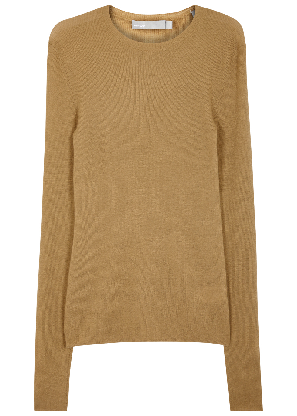 Camel Cashmere Jumper - pattern: plain; style: standard; predominant colour: camel; occasions: casual; length: standard; fit: standard fit; neckline: crew; fibres: cashmere - 100%; sleeve length: long sleeve; sleeve style: standard; texture group: knits/crochet; pattern type: knitted - fine stitch; wardrobe: investment; season: a/w 2016