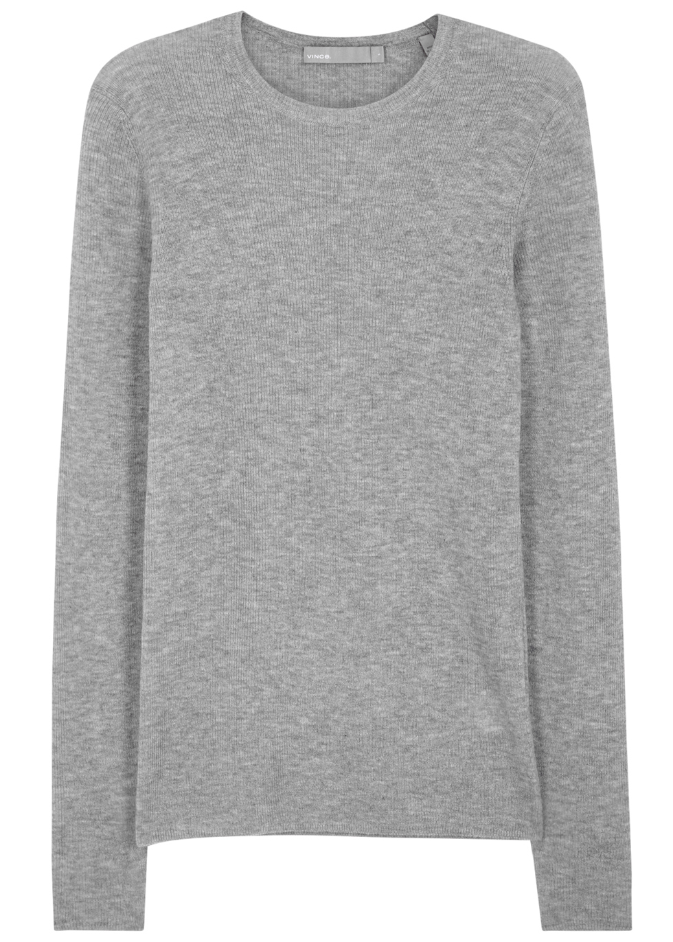 Grey Cashmere Jumper - pattern: plain; style: standard; predominant colour: mid grey; occasions: casual; length: standard; fit: standard fit; neckline: crew; fibres: cashmere - 100%; sleeve length: long sleeve; sleeve style: standard; texture group: knits/crochet; pattern type: knitted - fine stitch; wardrobe: investment; season: a/w 2016