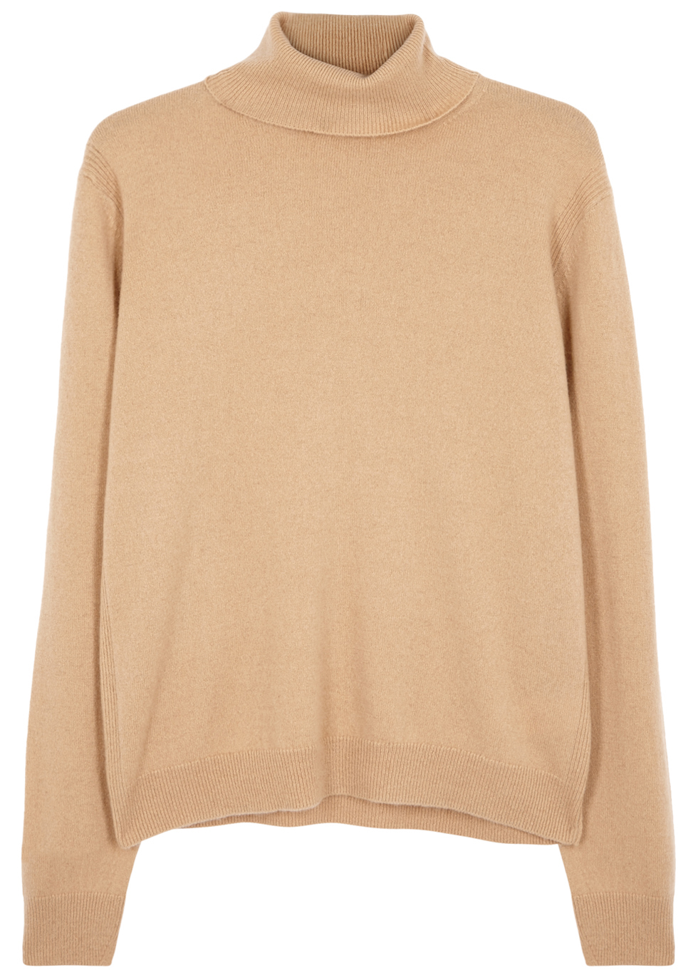 Camel Roll Neck Cashmere Jumper - pattern: plain; neckline: roll neck; style: standard; predominant colour: camel; occasions: casual; length: standard; fit: standard fit; fibres: cashmere - 100%; sleeve length: long sleeve; sleeve style: standard; texture group: knits/crochet; pattern type: knitted - fine stitch; wardrobe: investment; season: a/w 2016