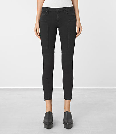 Leah Biker Zip Jeans - style: skinny leg; length: standard; pattern: plain; waist: mid/regular rise; predominant colour: black; occasions: casual, creative work; fibres: cotton - stretch; texture group: denim; pattern type: fabric; season: a/w 2016