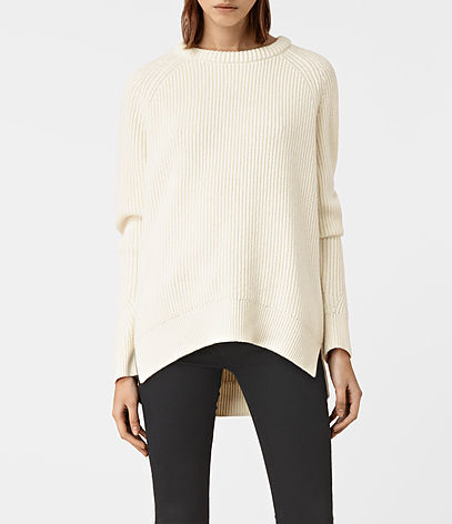 Patty Jumper - pattern: plain; length: below the bottom; style: standard; predominant colour: ivory/cream; occasions: casual, creative work; fibres: wool - mix; fit: loose; neckline: crew; sleeve length: long sleeve; sleeve style: standard; texture group: knits/crochet; pattern type: knitted - fine stitch; wardrobe: basic; season: a/w 2016
