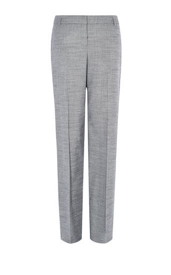 Tailored Trousers - length: standard; pattern: herringbone/tweed; waist: mid/regular rise; predominant colour: light grey; occasions: work; fibres: wool - mix; fit: straight leg; pattern type: fabric; texture group: woven light midweight; style: standard; pattern size: light/subtle (bottom); season: a/w 2016